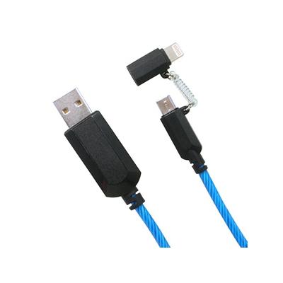 藤本電業 2WAYイルミネーションケーブル microUSBケーブル Lightning変換コネクタ付 ケーブル長80cm ブルー  CK-L06BL 画像3