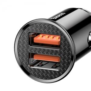 BASEUS(ベースアス) カーチャージャー 丸型 30W USB2ポート 急速充電対応 ブラック  DCCALL-YD01 画像5