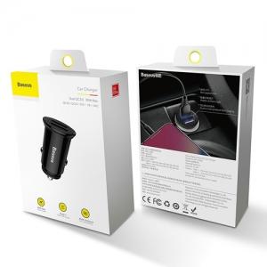 BASEUS(ベースアス) カーチャージャー 丸型 30W USB2ポート 急速充電対応 ブラック  DCCALL-YD01 画像6