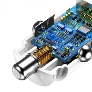 BASEUS(ベースアス) カーチャージャー 丸型 30W USB2ポート 急速充電対応 ホワイト  DCCALL-YD02 画像5
