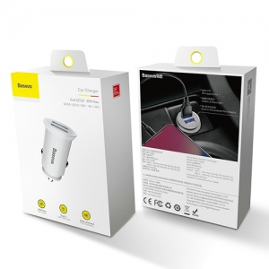 BASEUS(ベースアス) カーチャージャー 丸型 30W USB2ポート 急速充電対応 ホワイト  DCCALL-YD02 画像6