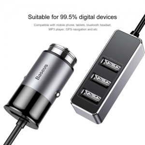 BASEUS(ベースアス) カーチャージャー USB4ポート 出力最大5.5A ダークグレー  DCCTON-0G 画像5