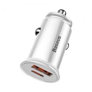 BASEUS(ベースアス) カーチャージャー 30W USB+Type-C ホワイト  DCCALLYS02 画像2