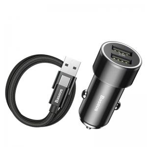 BASEUS(ベースアス) カーチャージャー 36W 急速充電タイプ USB/Type-A/Type-C 長さ1m ブラック  DTZXLDB01
