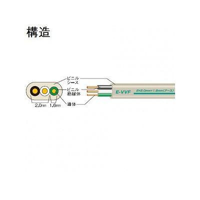 富士電線  E-VVF2C×2.0+アース1.6×100m