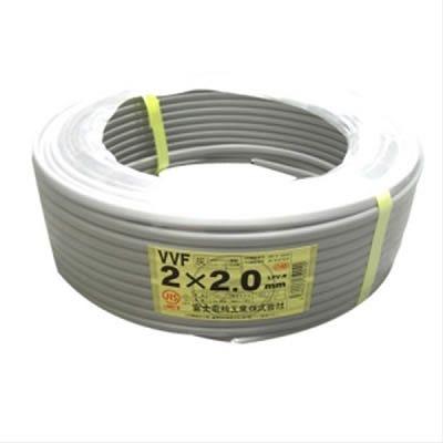 富士電線 VVFケーブル 2.0mm×2芯 100m巻 (灰色) VVF2.0×2C×100m