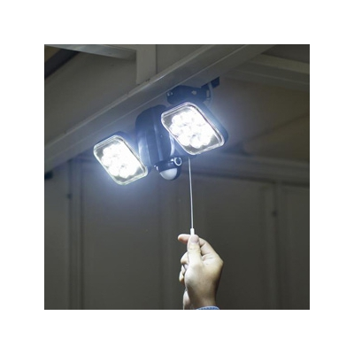RITEX(ライテックス) フリーアーム式LEDセンサーライト 防雨型 コンセント式タイプ 天井取付可 12W×2灯 2000lm ハロゲン400W相当 ひもスイッチ付  CAC-26 画像2
