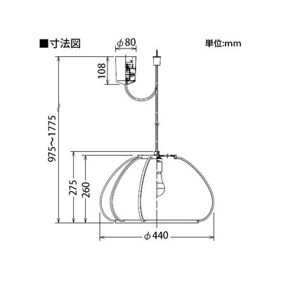 DAIKO LED和風ペンダントライト 電球色 非調光タイプ E26口金 白熱灯100Wタイプ 引掛シーリング取付式  DPN-38874Y 画像2