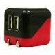 藤本電業 AC充電器 《COLOCORO》 USB2ポート 最大合計2.1A ブラック&レッド CA-04BK/RD