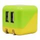 藤本電業 AC充電器 《COLOCORO》 USB2ポート 最大合計2.1A グリーン&イエロー CA-04GR/YE