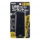 YAZAWA(ヤザワ) 雷ガード付サイドタップ 3AC+1USB 2.4A ブラック H6SK4001UBK 画像1