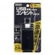 YAZAWA(ヤザワ) 雷ガード付極小タップ 2AC+1USB 2.4A ブラック H6MK3001UBK