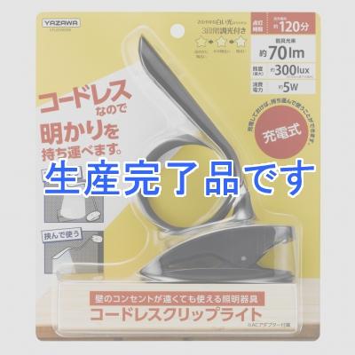 YAZAWA(ヤザワ) 調光機能付充電式フレキシブルクリップライト ブラック CFL05W03BK