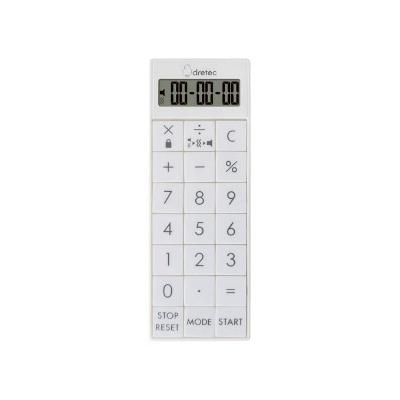 ドリテック 時計付電卓バイブタイマー 最大セット時間99時間99分99秒 CL-126WT
