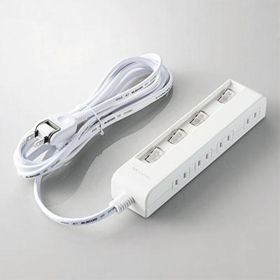 ELECOM(エレコム) 省エネタップ 個別スイッチ付 横挿しタイプ 2P・4個口 2P・スイングプラグ コード長3m T-E5C-2430WH