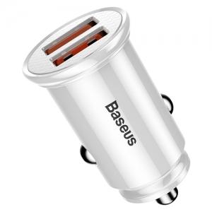 BASEUS(ベースアス) カーチャージャー 丸型 30W USB2ポート 急速充電対応 ホワイト  DCCALL-YD02 画像4