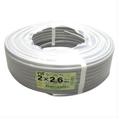富士電線 VVFケーブル 2.6mm×2芯 100m巻 (灰色) VVF2.6×2C×100m