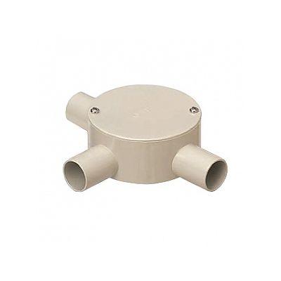 未来工業 露出用丸型ボックス 平蓋 3方出 適合管:VE16 ベージュ PVM16-3J