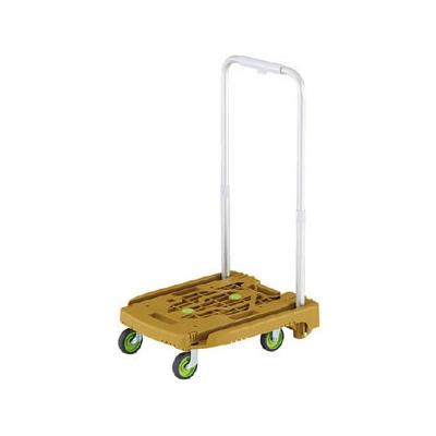 トラスコ中山 小型樹脂製運搬車 《アイドルキャリー weego》 伸縮式折りたたみハンドルタイプ オリーブ WP-2-OG