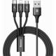 Baseus(ベースアス)USBケーブル 3in1Micro Lightning TypeC 3A 1.2m ブラックDCAMLTSU01
