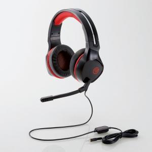 ELECOM(エレコム) ゲーミングヘッドセット 両耳オーバーヘッド 4局ミニプラグ 50mmドライバ 極厚イヤーパッド コントローラー付属 ブラック HSG01BK 画像1