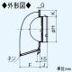 三菱 防火ダンパー付深形フード ダクト用 ギャラリ・ワイド水切板付 適用パイプ:φ75mm ステンレス製 P-07VSD4 画像3