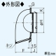三菱 防火ダンパー付深形フード ダクト用 ギャラリ・ワイド水切板付 適用パイプ:φ150mm ステンレス製 P-18VSDK4 画像3