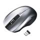 サンワサプライ 静音ワイヤレスブルーLEDマウス 2.4GHz USBコネクタ(Aタイプ) 中型サイズ シルバー MA-WBL33S
