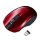 サンワサプライ 静音ワイヤレスブルーLEDマウス 2.4GHz USBコネクタ(Aタイプ) 中型サイズ レッド MA-WBL33R