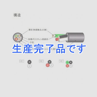 テイコク 柔軟耐寒性ビニルシースキャブタイヤケーブル 3.5m  4心 100m巻 CRCVCT3.5SQ×4C×100m