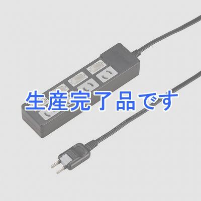 YAZAWA(ヤザワ) 【在庫限り】個別スイッチ付抜け止めタップ4個口5mブラック Y02KN445BK