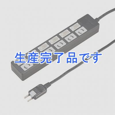 YAZAWA(ヤザワ) 【在庫限り】個別スイッチ付抜け止めタップ6個口2mブラック Y02KN662BK